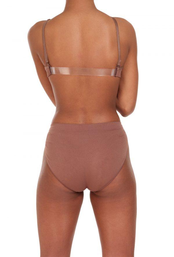 silky clear back bra dark nude